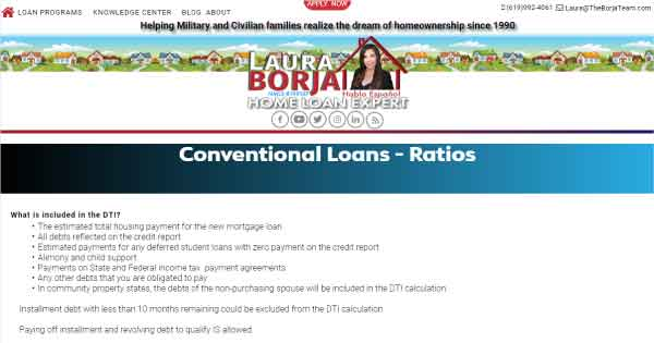 conventional loans ratios